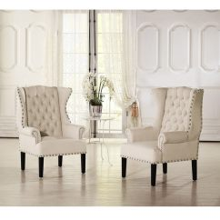 Tufted Nailhead Chair West Elm Ryder Rocking Review Shop Baxton Studio Patterson Wingback Beige Linen And Burlap Accent