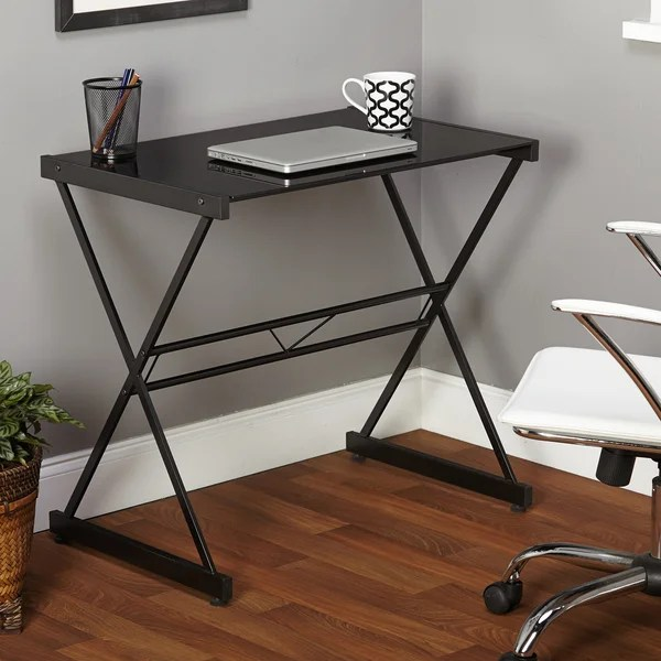 Shop Simple Living Black Ava Glass Desk  Free Shipping On
