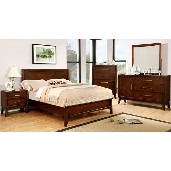 furniture of america kasten modern 4-piece brown cherry bedroom