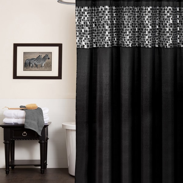 Classic Black And Silver Tile Patchwork Shower Curtain And Hooks Or Separates 17393543