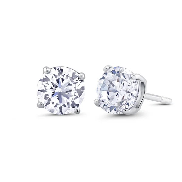 Shop Sterling Silver 8mm Round Cubic Zirconia Stud