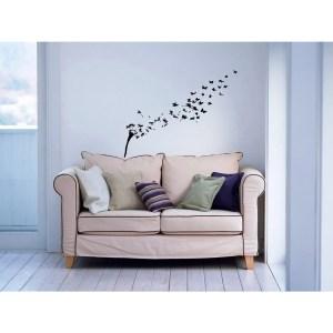 Dandelions in the Wind Flying Butterflies Inspirational Vinyl Sticker Wall Art