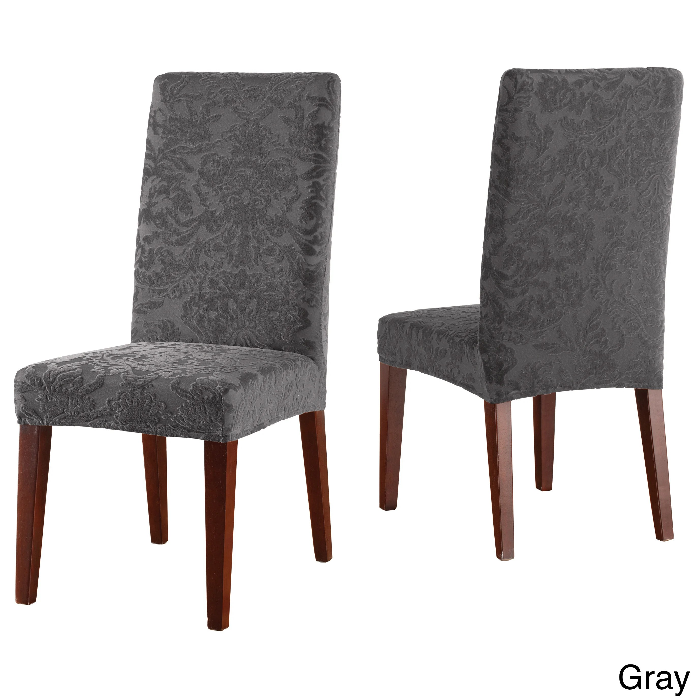 chair covers overstock accent chairs grey sure fit stretch jacquard damask dining room