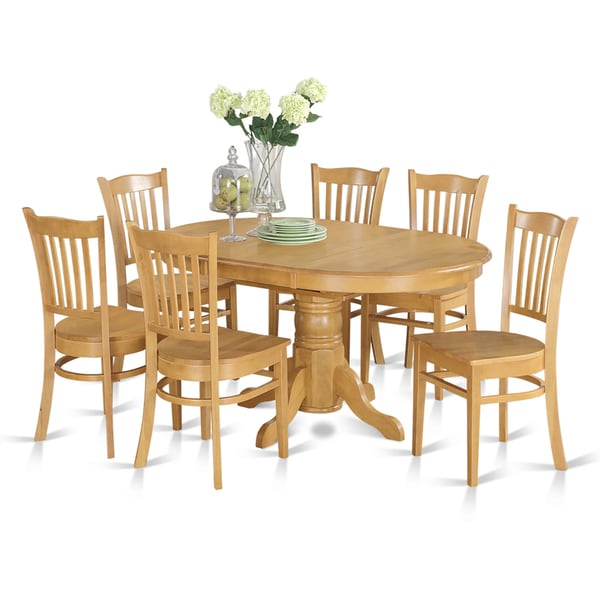7piece Formal Oval Dinette Table with Leaf and 6 Dining