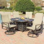 Shop Black Friday Deals On Acadia 6 Person Sling Patio Dining Set With Fire Pit Table Overstock 10296959