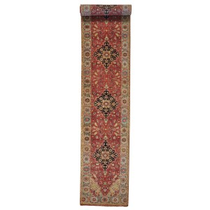 Hand-knotted XL Runner Antiqued Heriz Recreation Rug (2'7 x 15'10)