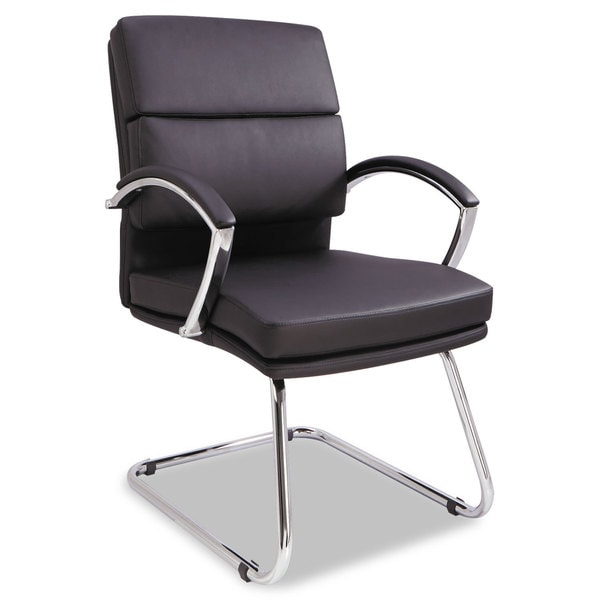 leather chrome chair wheelchair qb shop alera neratoli series black soft frame slim profile guest free shipping today overstock com 10302332