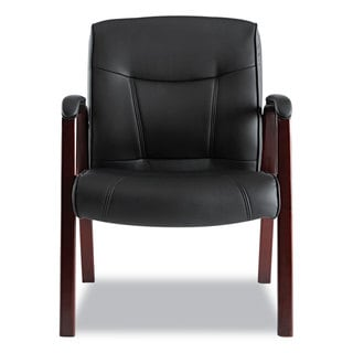 alera office chairs chair covers for sale in bloemfontein buy conference room online at overstock com madaris series black leather guest with mahogany wood trim