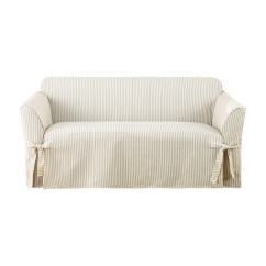 Durham One Piece Sofa Slipcover Wood Frame Singapore Sure Fit Ticking Stripe Loveseat ...