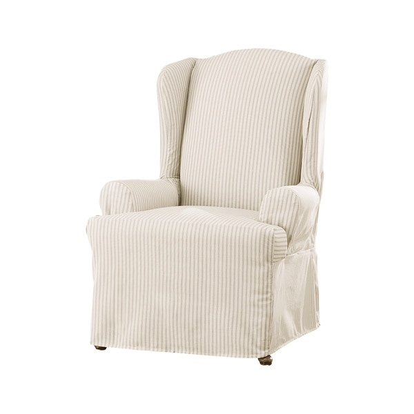 sure fit slipcovers wing chair large rocking ticking stripe slipcover - 17415874 overstock.com shopping big discounts ...