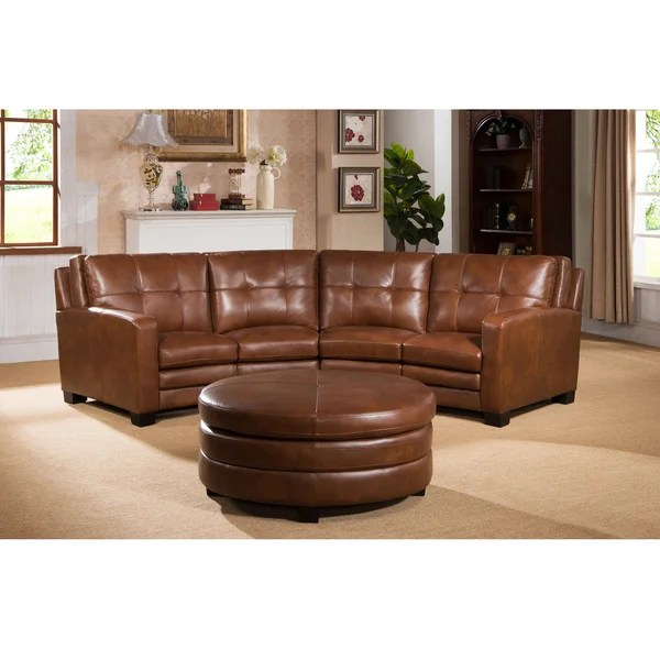 leather sectional sofas retro modern sofa shop oakbrook brown curved top grain and ottoman