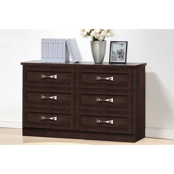 Colburn Modern and Contemporary 6Drawer Dark Brown Finish Wood Storage Dresser  Free Shipping