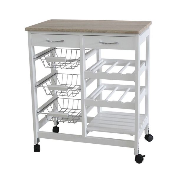 kitchen cart with drawers big island shop home basics white oak 2 drawer trolley baskets free shipping today overstock com 10325814