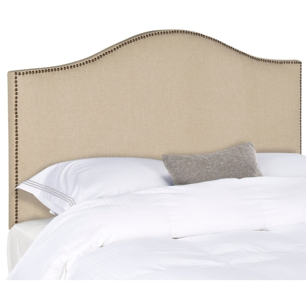 safavieh connie hemp upholstered camelback headboard brass nailhead queen