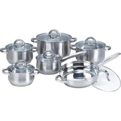 Kitchen Pans Towel Bar Shop Heim Concept Silver 12 Piece Stainless Steel Cookware Set With Glass Lid Free Shipping Today Overstock Com 10343816
