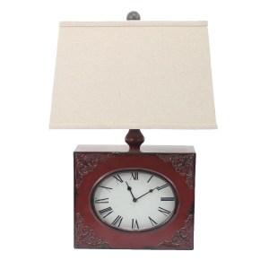 Teton Home Red Metal Clock Base 1-light Table Lamp