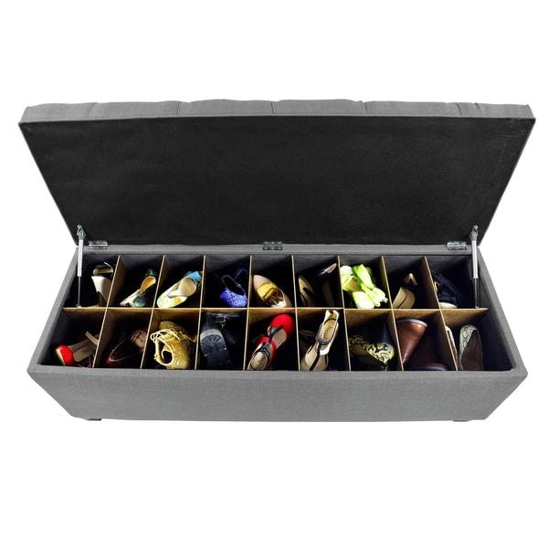 The Sole Secret Dark Grey Diamond Tufted Shoe Storage