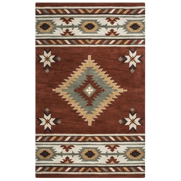 Shop Rizzy Home Southwest Collection Handtufted Geometric Wool Red White Rug 8 x 10  Free