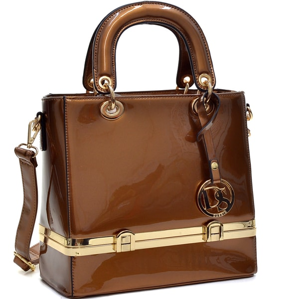 Dasein Patent Leather Satchel with Hidden Compartment