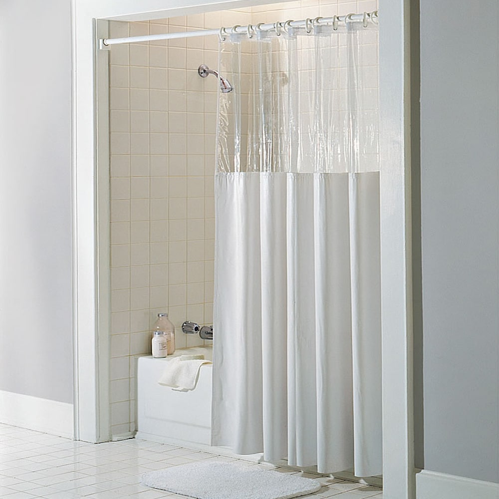antibacterial and antimicrobial mildew resistant see through top clear white vinyl shower curtain