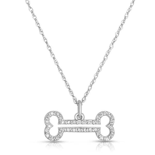 Shop Eloquence 10k White Gold 1/4ct TDW Diamond Dog-Bone