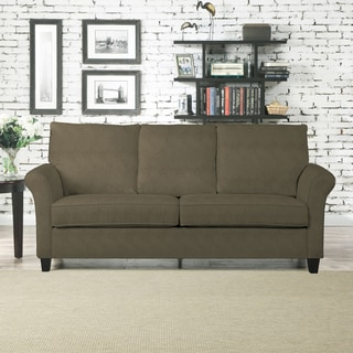 tribecca home knightsbridge beige linen tufted scroll arm chesterfield sofa rialto faux leather futon bed sofas, couches & loveseats - overstock.com