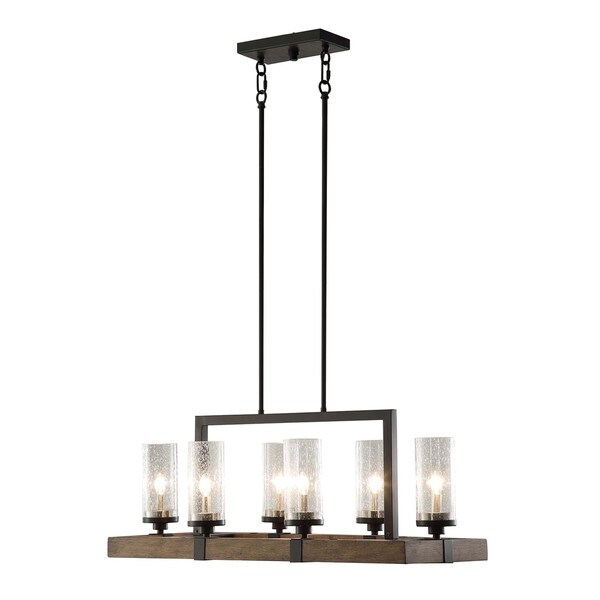 Vineyard Metal And Wood 6 Light Chandelier With Seeded Glass Shades Free Shipping Today 17484995