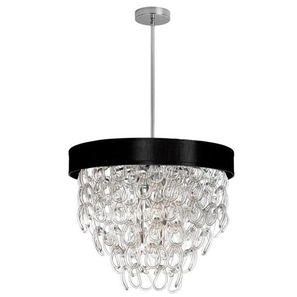 Dainolite 6 Light Glass Loop Chandelier In Polished Chrome Finish Black Shade