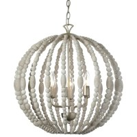 Dainolite 6-light Chandelier in White Washed Wood with ...