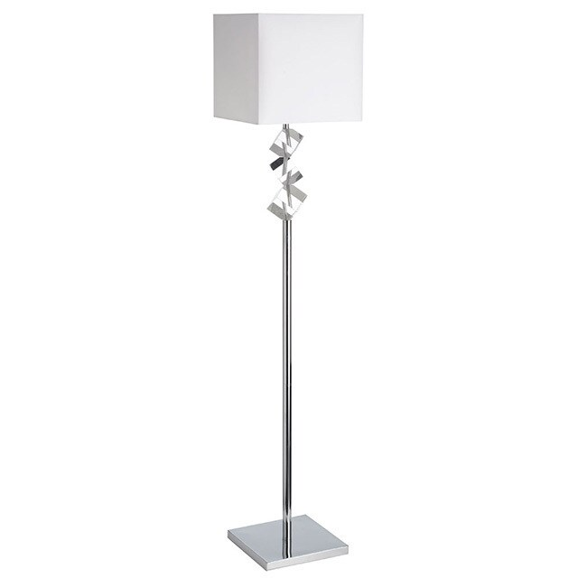 Dainolite Floor Lamp w/ Crystal Cubes in Polished Chrome in White Linen Shade
