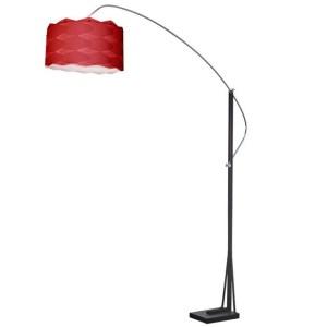 Dainolite Arc Floor Lamp Polished Chrome/Black Finish with Red Shade