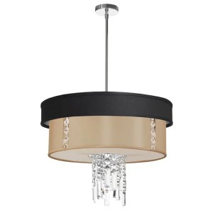 Dainolite 3-light Polished Chrome Crystal Pendant with Black/Silver & Cream Shade with 840 Diffuser - Polished chrome
