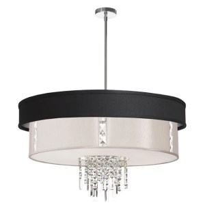 Dainolite 4-light Polished Chrome Crystal Pendant with Black/Silver & Pearl Shade with 840 Diffuser - Polished chrome