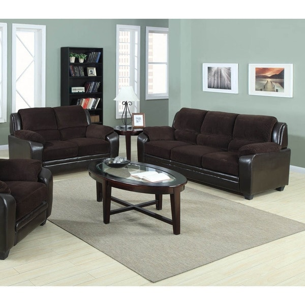 2 piece brown leather sofa e cia em lauro de freitas shop jagger corduroy fabric with pu loveseat set free shipping today overstock com 10401456