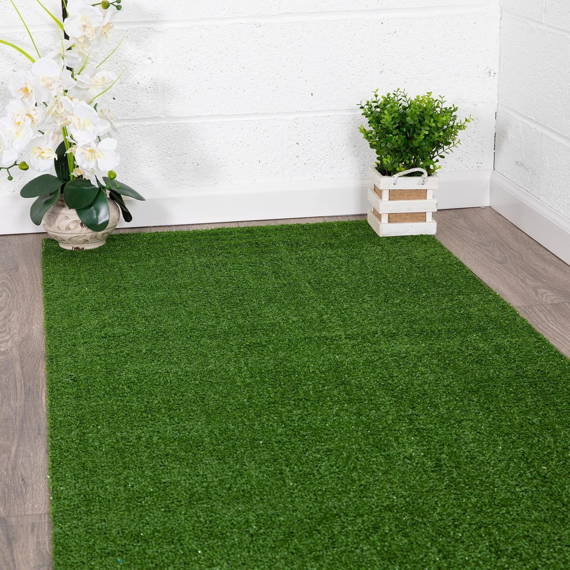 ottomanson evergreen indoor outdoor artificial grass turf area rug