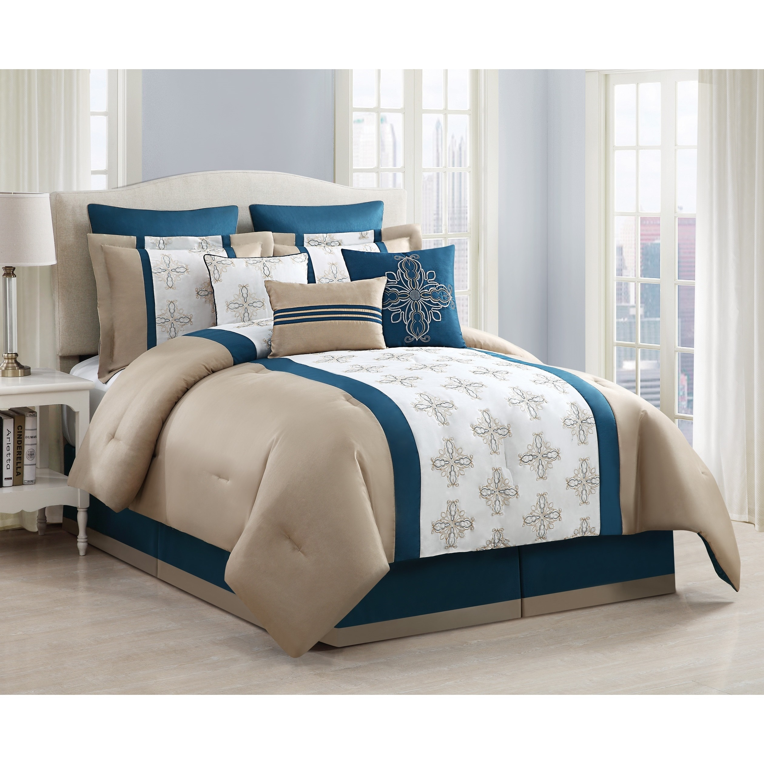 sasha embroidered 9 piece comforter set