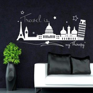 Travel Is My Therapy White Vinyl Wall Art Decal Sticker