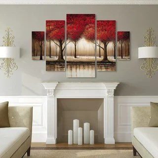 large pictures for living room wall light blue paint colors size extra art gallery shop our best home goods deals online copper grove parade of red trees 5 panel