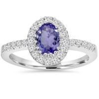 Shop Pompeii3 10K White Gold 1.00 CT Tanzanite Halo ...