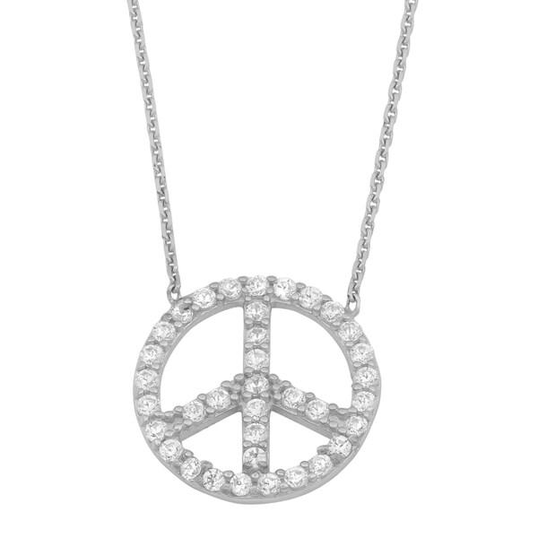Shop La Preciosa Sterling Silver Cubic Zirconia Peace Sign
