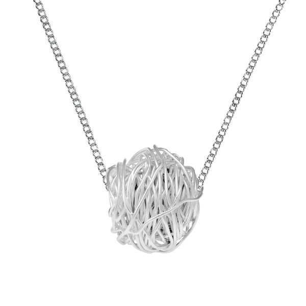 Tangled Wire Wrap Round 3D Ball Sterling Silver Necklace
