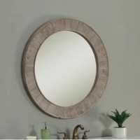 Shop Rustic Style 35 inch Round Wall Mirror - Free ...