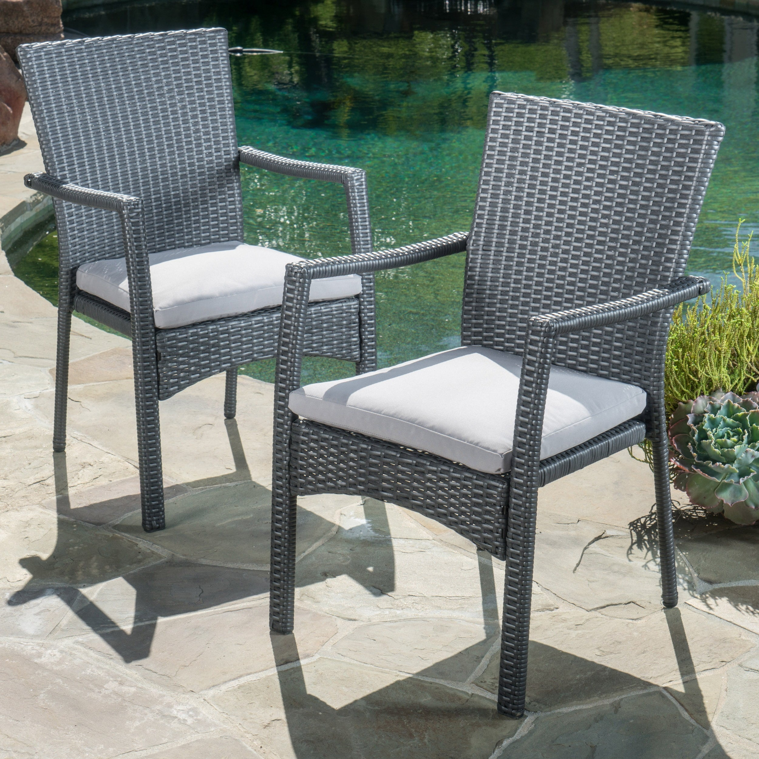 Outdoor Wicker Dining Chairs Details About Corsica Outdoor Wicker Dining Chair With Cushion Set Of 2 By Christopher