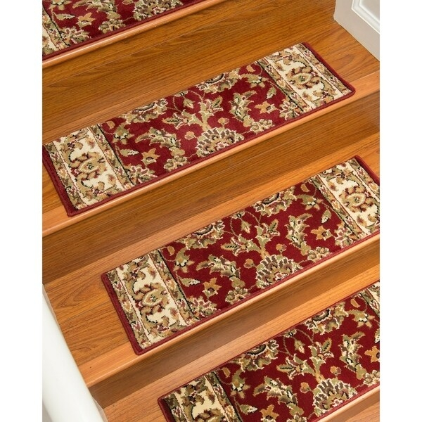 Shop Natural Area Rugs Sydney Red Polypropylene Stair Treads Set | Oriental Carpet Stair Treads | Non Skid | Kings Court | Carpet Runners | Amazon | Stair Runner