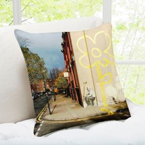 'Yellow Lines Flower Painter' London Banksy Art Throw Pillow