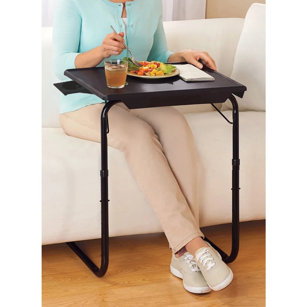 Portable Foldable Tv Tray Table Laptop Eating Stand W Adjustable Tray Sliding Adjustable Cup Holder As Seen On Tv