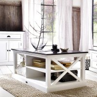 Shop Interior White Distressed Mahogany Coffee Table with ...