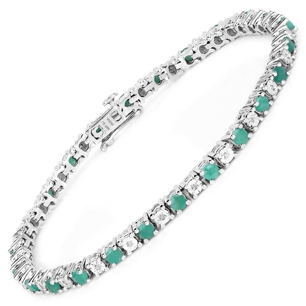 Shop Malaika Sterling Silver 2 3/4ct Genuine Emerald and 1
