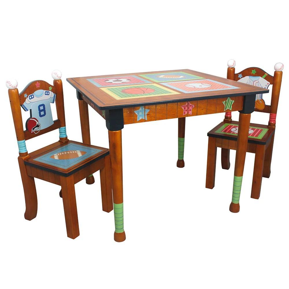 fantasy fields lil sports fan 3 piece kid s table set brown