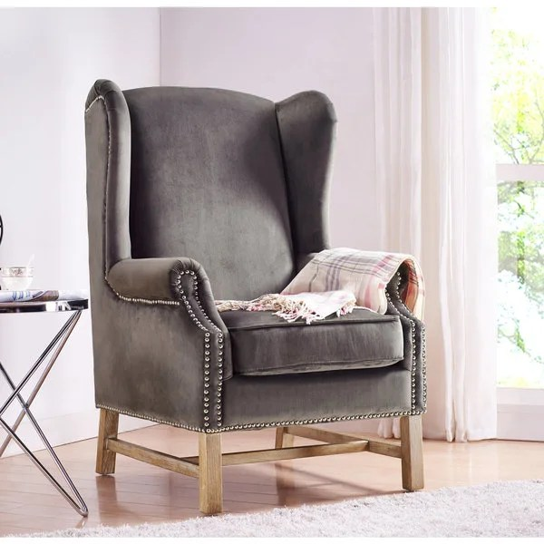 Shop Nora Grey Velvet Wing Chair  Free Shipping Today